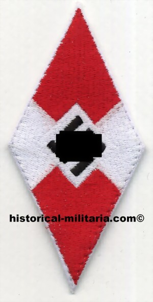HJ Stoffabzeichen gestickt/ HJ Hitler Youth diamond patch machine-embroidered