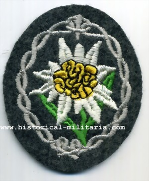 EDELWEISS Gebirgsj�ger machine-embroidery on fieldgrey