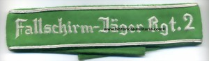 Fallschirm-J�ger Rgt.2 cuff title hand-embroidered in cotton thread